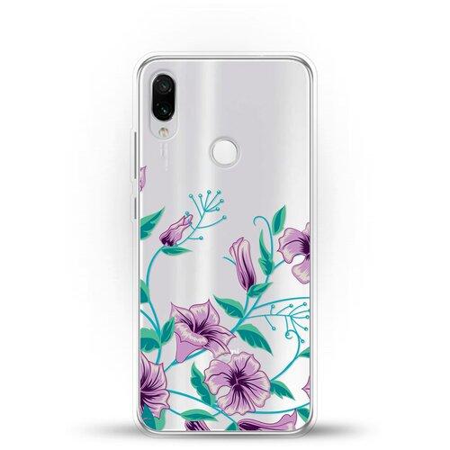 Фото - Силиконовый чехол Фиолетовые цветы на Xiaomi Redmi Note 7 Pro ультратонкий силиконовый чехол накладка для xiaomi redmi 7 с принтом нежные цветы