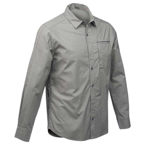Рубашка модульная для походов и путешествий мужская TRAVEL 500 FORCLAZ Х Decathlon Серый Хаки M