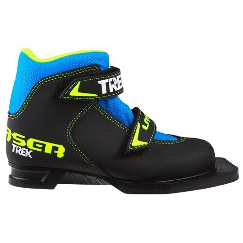 Trek Ботинки лыжные TREK Laser NN75 ИК, цвет чёрный, лого лайм неон, размер 32