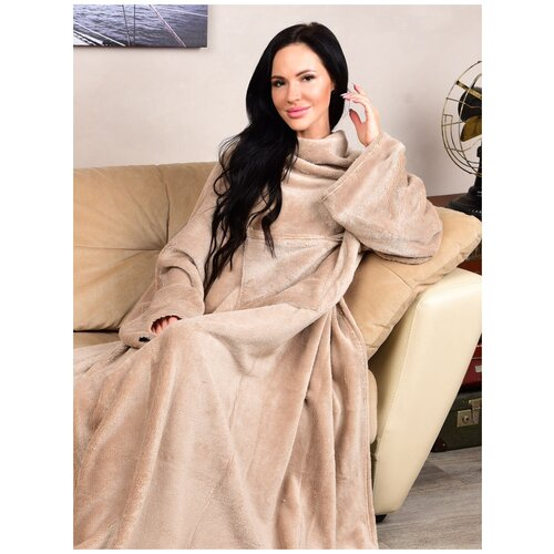 Фото - Плюшевый плед с рукавами, плед-халат, плед кофейный , плед 1,5 спальний плед