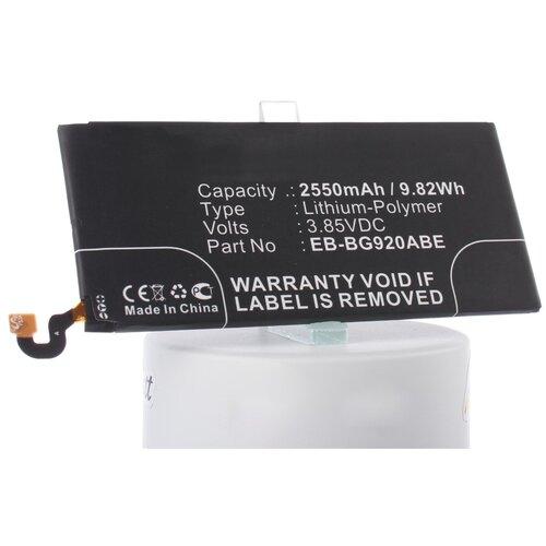 Аккумуляторная батарея iBatt 2550mAh для Samsung SM-G920V, SM-G9200, SM-G920P, SM-G920T, SM-G920X, SM-G920S, SM-G920A, SM-G920I, SM-G920W8, SCV31, SM-G9208
