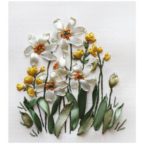 Купить PANNA Набор для вышивания нитками и лентами Нарциссы и лютики 10.5 x 12 см (Ц-0941 / C-0941), Наборы для вышивания