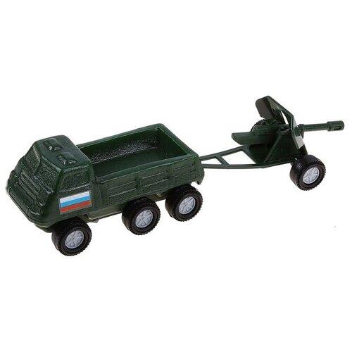 Купить Набор техники Форма Патриот Грузовик с пушкой (С-109-Ф), 21.5 см, зеленый, Машинки и техника