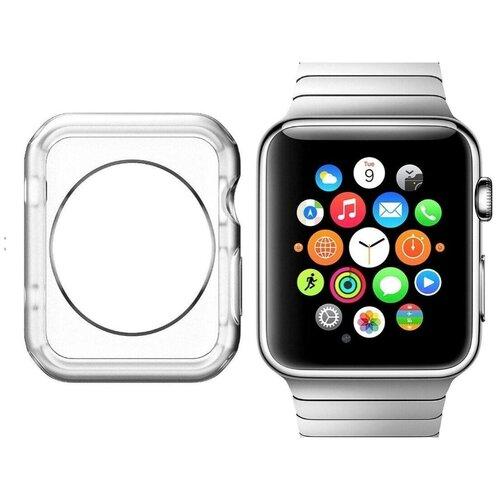 Чехол-кейс-пенал MyPads для умных смарт-часов Apple Watch 42mm тонкий силиконовый прозрачный