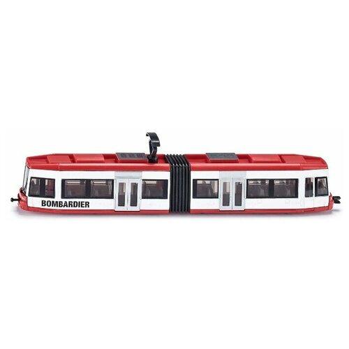 Фото - Трамвай Siku Bombardier (1895) 1:87, 23 см, красный/белый набор машин siku тягач с яхтой 1849 1 87 27 см красный белый