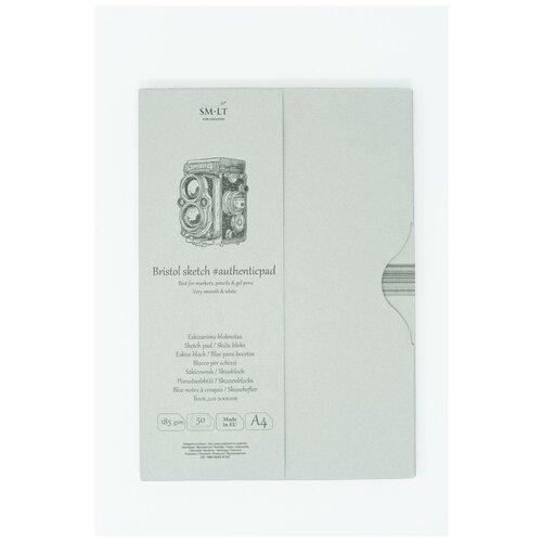 Купить Альбом SM-LT Authentic Bristol в папке А4 50л 185 г/м2 экстра белый, склейка EA-50, Smiltainis, Альбомы для рисования