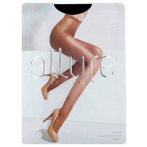 Колготки ALLURE Classic Lacerta, 20 den, размер 3, nero (черный) колготки allure classic lacerta 20 den размер 3 caramello бежевый