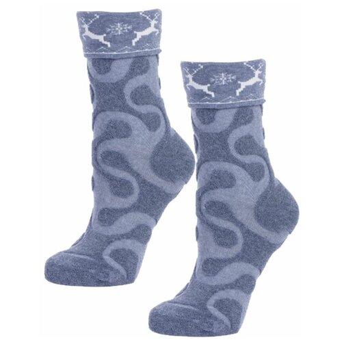 Женские серые махровые носки с оленями
