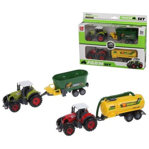 трактор с прицепом игрушка efko трактор с прицепом игрушка Трактор Наша Игрушка с прицепом, 2 шт (без механизма) (SQ90222-6B)