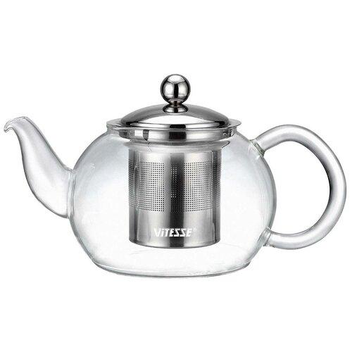 Vitesse Заварочный чайник VS-1691 0.8 л, прозрачный/серебристый чайник vitesse vs 172 серебристый черный