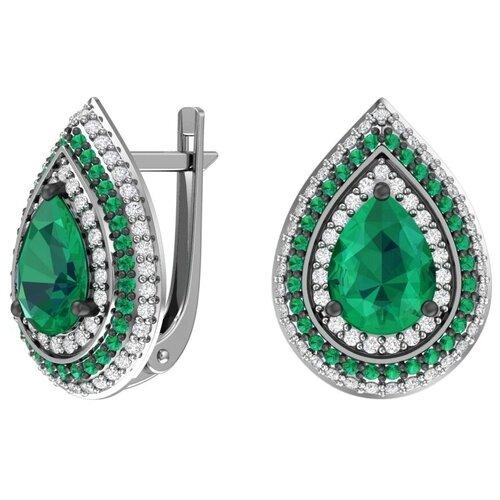 POKROVSKY Серебряные серьги с кварцем синтетическим изумрудным и зелеными,бесцветными фианитами 2100998-24045