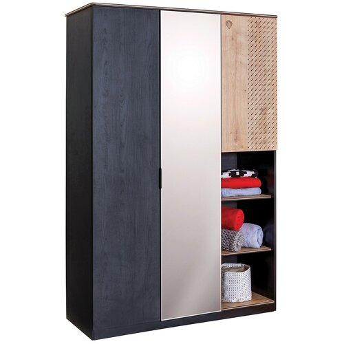 Шкаф для детской Cilek 20.58.1002.00, (ШхГхВ): 131х95х220 см, дуб сонома светлый/черный