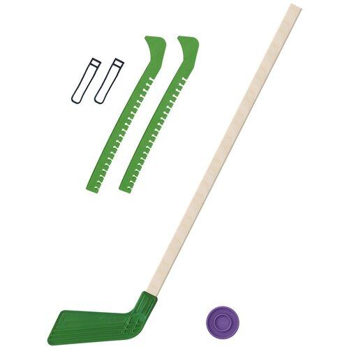 Набор зимний: Клюшка хоккейная зелёная 80 см.+шайба + Чехлы для коньков зеленые, Задира-плюс