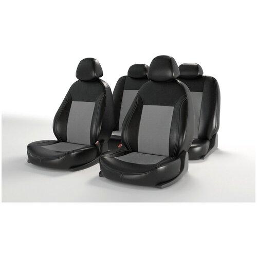Универсальные чехлы на автомобильные сиденья CarFashion ATOM LEATHER черный/серый/серый