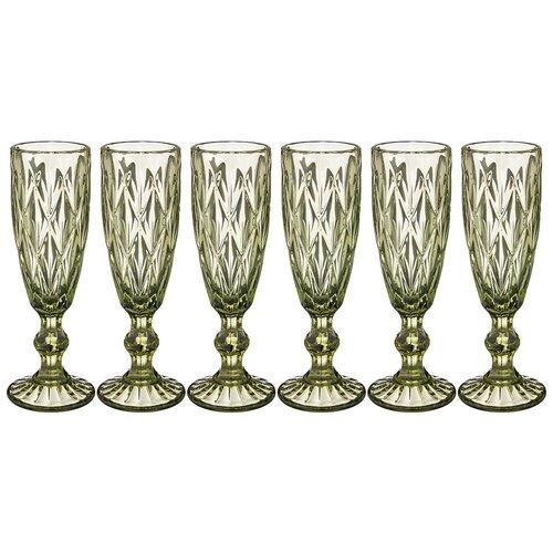 Набор бокалов Lefard Ромбо для шампанского 150 мл 6 штук, Серия Muza Color, высота 20 см (781-115)