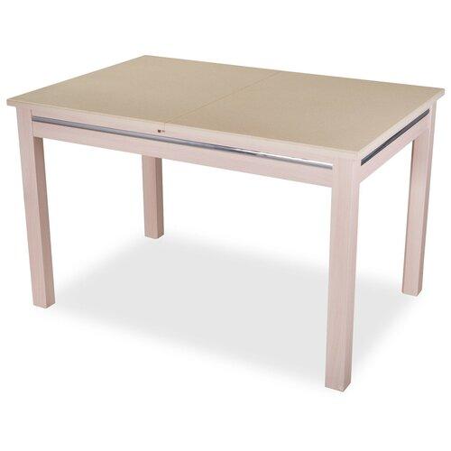 Стол кухонный Домотека Самба-1 КМ 08, раскладной, ДхШ: 120 х 80 см, длина в разложенном виде: 157 см, 06/МД бежевый/молочный дуб 08 МД молочный дуб