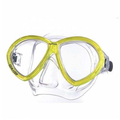 Маска для плав. Salvas Change Mask, артCA195C2TGSTH, закален.стекло, Silflex, р. Senior, желтый маска для плавания salvas phoenix mask арт ca520s2bysth зак стекло силикон р senior сереб син
