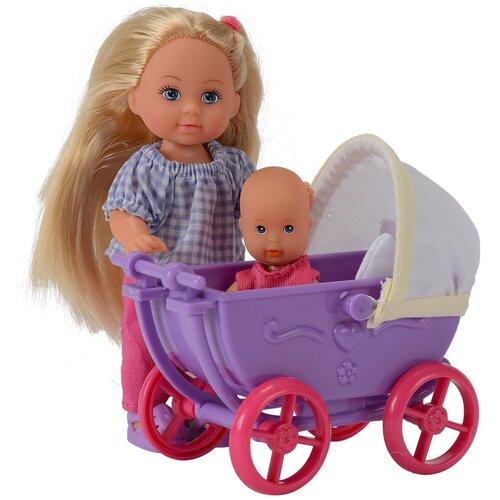 Фото - Набор кукол Simba Еви с малышом на прогулке (фиолетовая коляска), 12 см, 5736241-1 набор кукол simba еви с малышом на прогулке розовая коляска 12 см 5736241 2