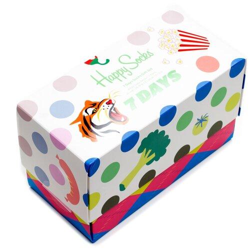 Комплект носков Happy Socks из семи пар с различными узорами в подарочной упаковке Happy Socks 7 Pair Pack - Tiger 36-40