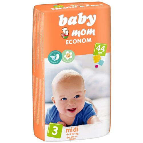Baby Мom подгузники Econom 3 midi (4-9 кг), 44 шт.