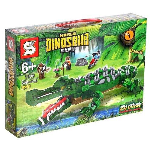 Купить Конструктор Sembo Мир динозавров 1506 Сражение с крокодилом, Конструкторы