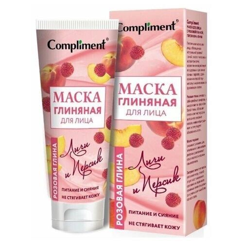 Купить Маска для лица с розовой глиной, персиком и личи, 80мл, Compliment