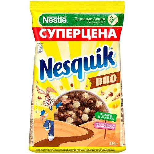 Фото - Готовый завтрак Nesquik DUO шоколадные шарики, пакет, 250 г готовый завтрак хрутка шоколадные колечки пакет 210 г