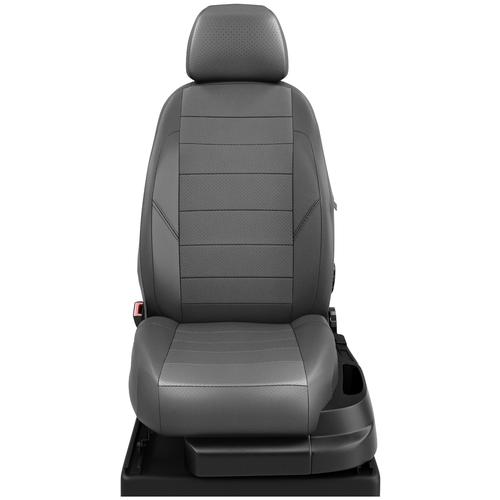 Авточехлы для Volkswagen Caddy с 2015-н.в. фургон 7 мест. TrendLine. Задние спинка и сиденье 40 на 60, третий ряд - двушка. Передний подлокотник, 7-подголовников (передние Активные) (Фольксваген Кадди). ЭК-20 т.сер/т.сер
