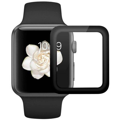 Полноэкранное защитное стекло для Apple Watch 4D Full Glue Full Screen 1, 2, 3 series (42mm) / Защитное стекло для Эпл Вотч 1, 2, 3 серии (42мм) / 3D Полная проклейка экрана (Черный)