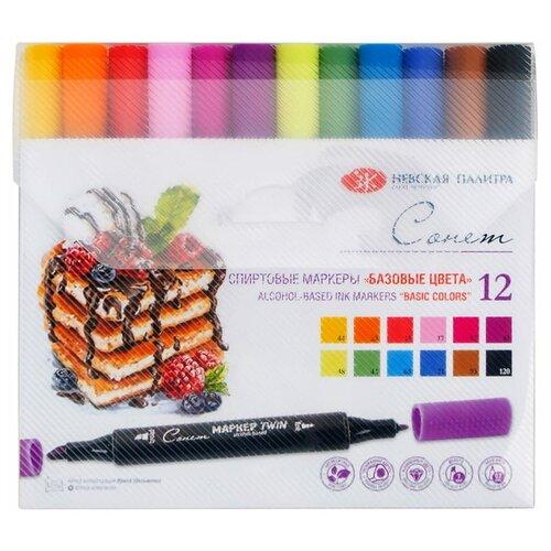 Купить Сонет набор маркеров Базовые цвета, 12 шт. (211421448), Фломастеры и маркеры