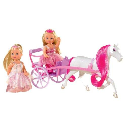 Фото - Набор кукол Simba Еви с каретой и лошадью, 12 см, 5736646 набор кукол simba еви с малышом на прогулке розовая коляска 12 см 5736241 2