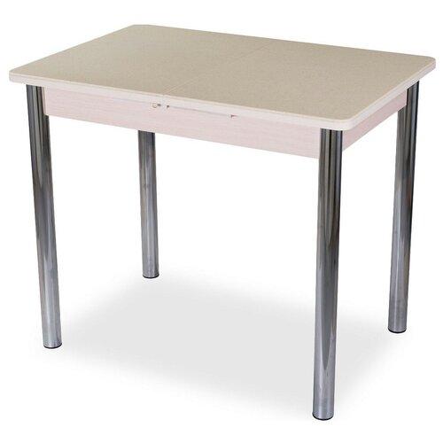Стол кухонный Домотека Румба ПР-М КМ 02, раскладной, ДхШ: 88 х 60 см, длина в разложенном виде: 125 см, 06/МД бежевый/молочный дуб 02 хром