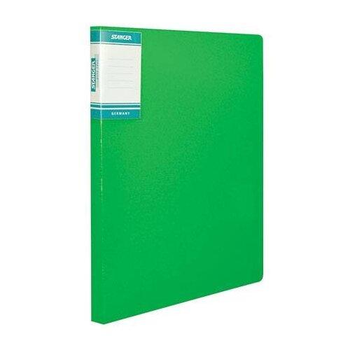 Папка-скоросшиватель STANGER HOR LINES, зеленая, пластик 700 мкм, карман для маркировки и внутренний