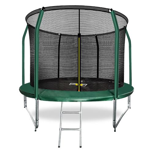 Фото - Батут премиум 10FT с внутренней страховочной сеткой и лестницей (Dark green) ARLAND каркасный батут arland премиум 16ft с внутренней страховочной сеткой и лестницей dark green