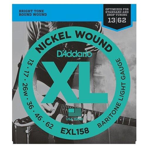 EXL158 XL NICKEL WOUND Струны для электрогитары Baritone-Light 13-62 D`Addario