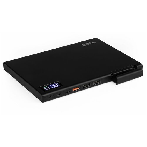 Внешний аккумулятор TopON MAX2 30000mAh QC3.0 Power Delivery. USB Type-C MicroUSB 3 USB и кредл. Черный