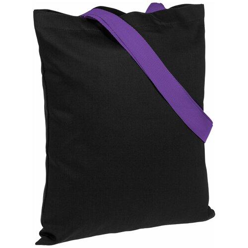 Сумка-шоппер BrighTone, черная с фиолетовыми ручками