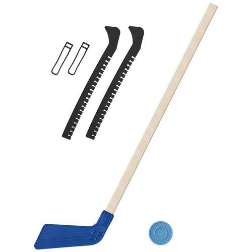 Набор зимний: Клюшка хоккейная синяя 80 см.+шайба + Чехлы для коньков черные, Задира-плюс