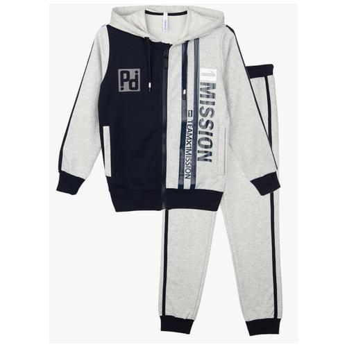 Спортивный костюм playToday размер 98, серый/темно-синий брюки playtoday classic girls 394424 размер 122 темно серый