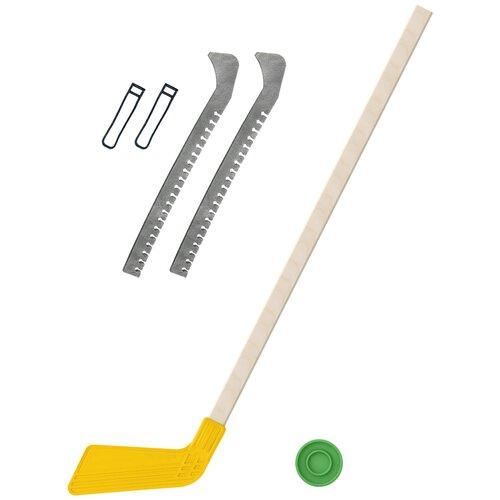 Набор зимний: Клюшка хоккейная жёлтая 80 см.+шайба + Чехлы для коньков серые, Задира-плюс