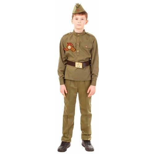 Костюм пуговка Солдат (2032/1 к-18), коричневый, размер 146 брюки sela размер 146 коричневый