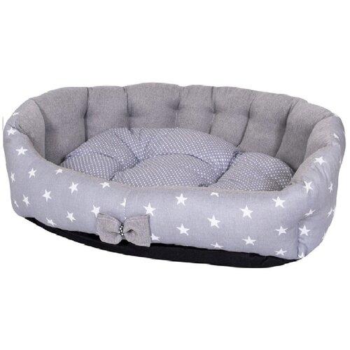 Фото - Лежак для собак и кошек HutPets MiniCot M 70х50 см Gray Stars лежак для собак и кошек hutpets minicot s 50х45 см coffee stars