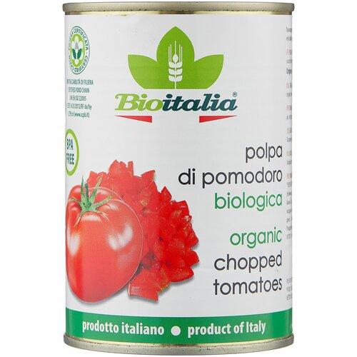 томаты очищенные резаные в томатном соке bioitalia 400 г Томаты очищенные резаные в томатном соке Bioitalia, 400 г