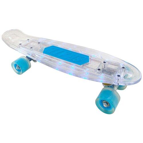 детский скейтборд navigator т20013 синий желтый Детский скейтборд Navigator Т20015, белый/голубой
