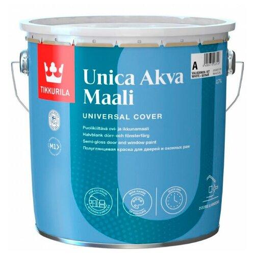 Фото - Краска акриловая Tikkurila Unica Akva Maali полуглянцевая бесцветный 2.7 л краска акриловая tikkurila luja 40 полуглянцевая прозрачный 9 л
