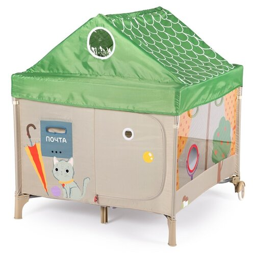 Манеж Happy Baby Alex Home зеленый/бежевый