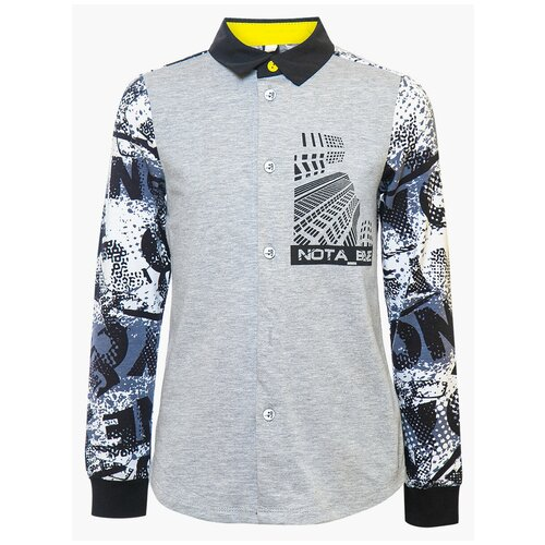 Рубашка Nota Bene размер 122, серый/черный