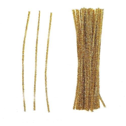 Купить Проволока с ворсом для поделок Блеск , набор 50 шт, размер 1 шт 30*0, 6 см цвет желтый 4449533, Сима-ленд, Украшения и декоративные элементы