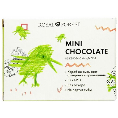Фото - Шоколад ROYAL FOREST Mini Chocolate из кэроба с миндалем, 30 г шоколад royal forest молочный из обжаренного кэроба 75 г