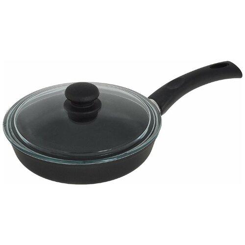 Сковорода НЕВА МЕТАЛЛ ПОСУДА Литая 7724, 24 см, с крышкой, черный